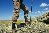 Resenär i ett berg — Stockfoto