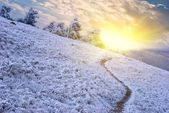 Winter mountain slope at the early morning — Stock Photo