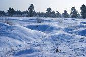 Winter verschneiten hügel am morgen — Stockfoto