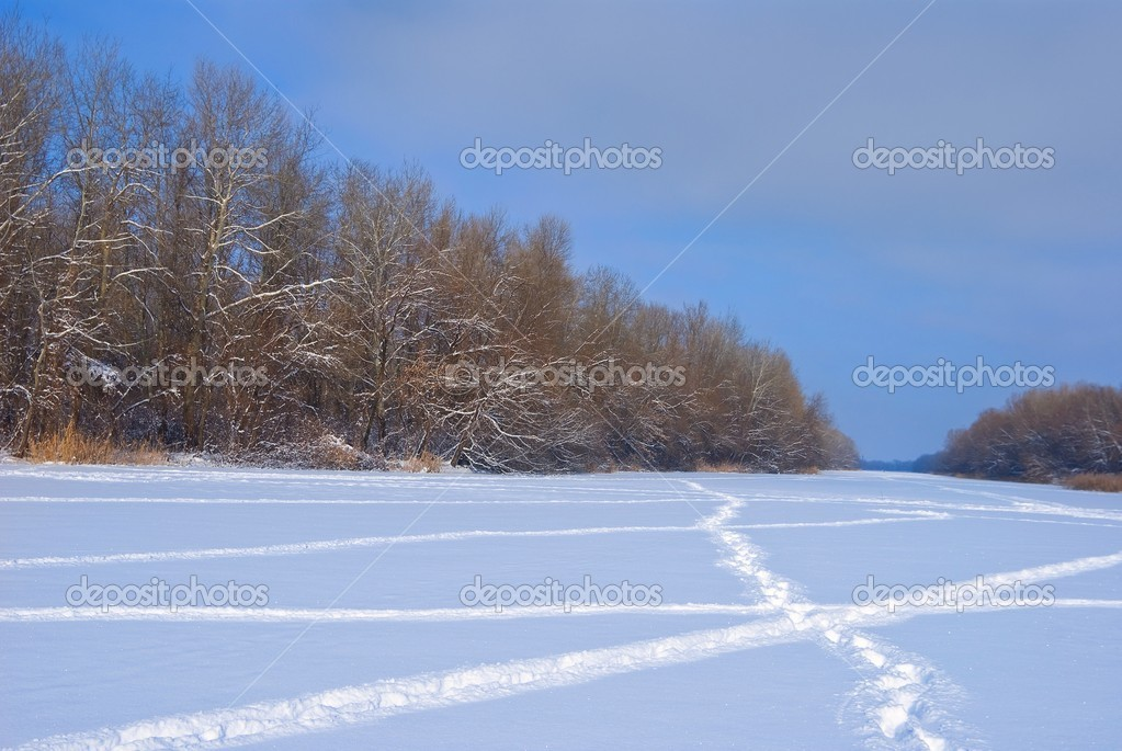 Winter snowbound plain — Stock Photo #8132115