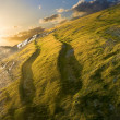Sunset in a green hills — Stock Photo