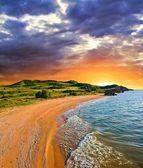 Sea bay at the dramatic sunset — Stock Photo