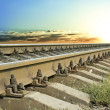 Railway leavin into a sunset - Stock Photo