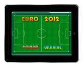 Stylized tablet pc with football field shown — Stok fotoğraf