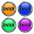 Varicoloured buttons with enter word — Stock Photo