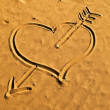 Heart on sand — Stock Photo #8558478