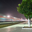 Night railway scene - Stock Photo