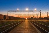 Railway station at the morning — Stock Photo