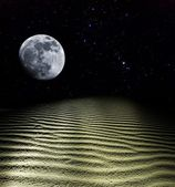 Moon rise above a sand desert — Stock Photo