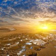 Stock Photo: Sunser in desert