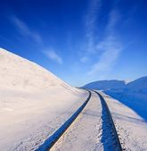Winter railway among a snowbound fields — Foto Stock