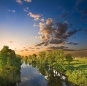 Summer river at the evening — Stock Photo