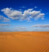 Sand desert and a blue cloudy sky — Stock Photo