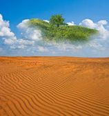 Mirage in a sand desert — Stock Photo