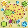 Multicolored sheep with flowers — Vector de stock