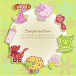 Beautiful card with set for baby — Vettoriale Stock #10035331