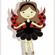 Pretty cute girl ladybug — Stock Vector