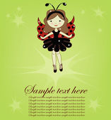 Pretty cute girl ladybug — Vettoriale Stock