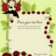 Vector greeting card with beautiful girl and ladybirds — Stok Vektör #10060002