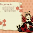 Vector greeting card with beautiful girl and ladybird — Vector de stock #10060210