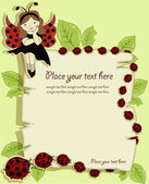 Vector greeting card with a beautiful girl and ladybirds — Cтоковый вектор