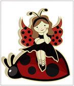 Beautiful girl sitting on a ladybug — Stock Vector