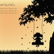 Silhouette of girl on swing with tree — Stock vektor #10073388