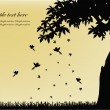 Black silhouette of tree with birds and falling leaves — Vector de stock #10073437