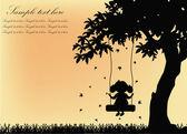 силуэт девочка на качелях с деревом — Cтоковый вектор