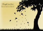Black silhouette of a tree with birds and falling leaves — Vector de stock