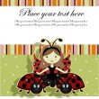 Beautiful girl and ladybugs — Imagen vectorial