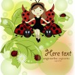Vector greeting card with a beautiful girl and ladybirds — Stock Vector
