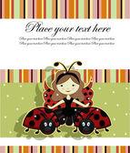 Beautiful girl and ladybugs — Stock Vector