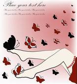 蝴蝶的美丽女性双腿 — 图库矢量图片