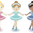 Three beautiful lovely girls of ballerinas — Stock Vector #10160679