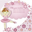 Beautiful lovely girl ballerinwith flowers — Vector de stock #10160788