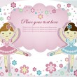 Two beautiful girls of ballerinwith flowers on white background — Vector de stock #10160865