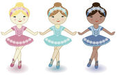 Three beautiful lovely girls of ballerinas — Vector de stock