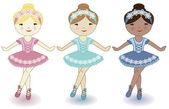 三个美丽可爱的女孩子的芭蕾舞者 — 图库矢量图片
