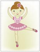 красивая милая девушка балерина — Cтоковый вектор