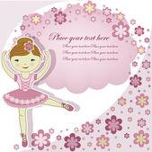 красивая девушка прекрасная балерина с цветами — Cтоковый вектор