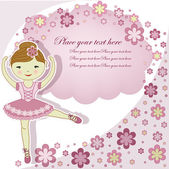 La belle fille belle la ballerine avec fleurs — Vecteur