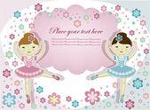 Zwei wunderschöne mädchen ballerina mit blumen auf weißem hintergrund — Stockvektor