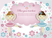 芭蕾舞演员用鲜花在白色背景上的两个漂亮的姑娘 — 图库矢量图片
