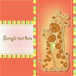 Postcards with cute giraffe — Stock Vector