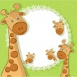 Stock Vector: A beautiful card with two giraffes