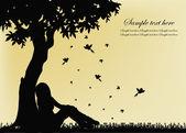木の近くに座っている女の子の概要 — ストックベクタ