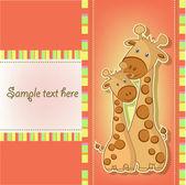 Postcards with cute giraffe — Stock Vector