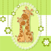 A beautiful card with two giraffes — Stok Vektör