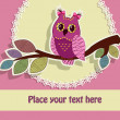 Beautiful greeting card with an owl on a branch — Imagen vectorial